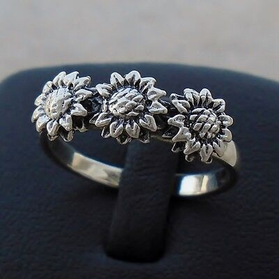 925 Sterling Silver Sunflowers Flowers Ring Size 7 Band Hallmark Solid Brand New