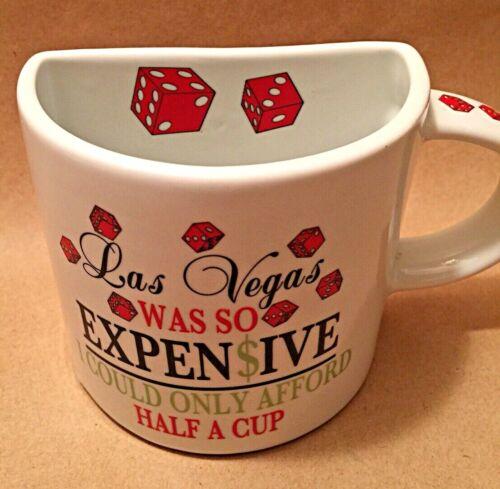 Las Vegas Half a Cup Coffee Mug Souvenir Vacation Gambling Dice Cards Casino