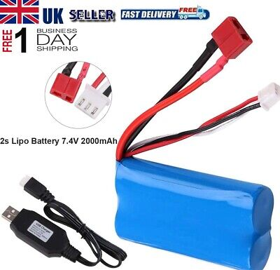 2s Lipo Battery 7.4V 2000mAh 20C T Plug Connector with USB Charger for RC Car