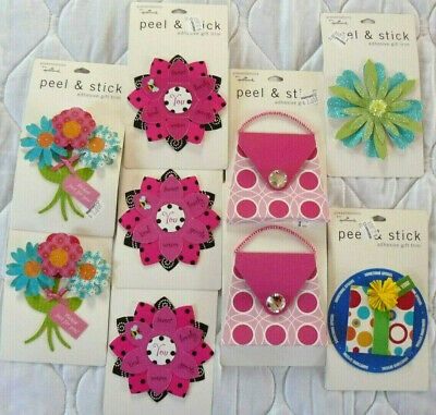 Lot of 9 Peel & Stick Adhesive Gift Trim Presentations Hallmark Scrapbook 3D NEW Hallmark Gift Trim