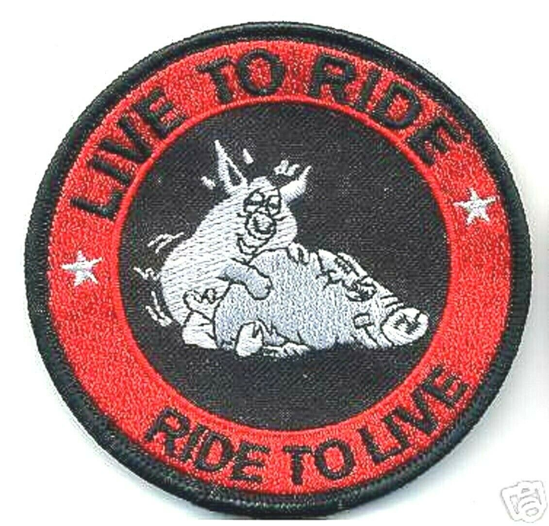 Outlaw Biker Gang Hog Biker Rider 1 Er Biker Iron On Patch Live To Ride Hog Ebay