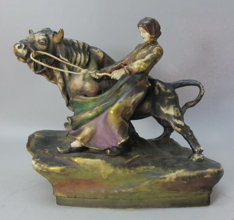 Large AMPHORA AUSTRIA ART NOUVEAU Pottery Figure  Bull & Woman  c. 1910  antique