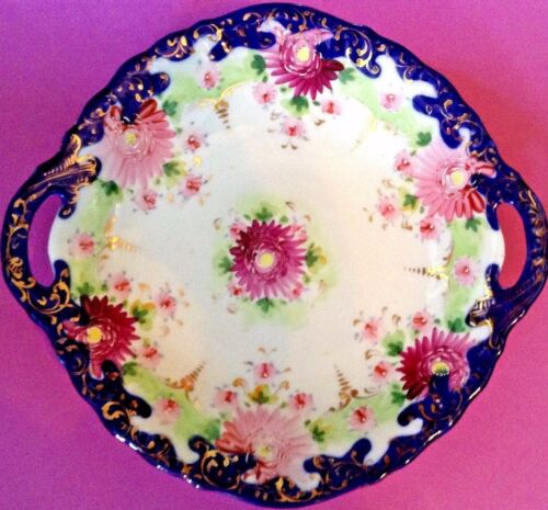 Large Handled Bowl - Hand Painted Blue And Gold With Purple Mums - Nippon Japan