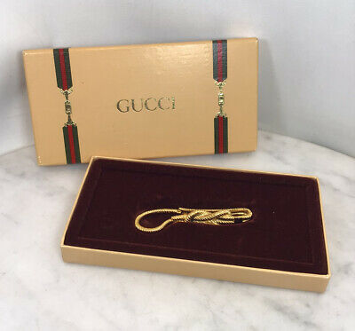 Vintage GUCCI Gold Tone Rope Belt Key Ring Hook Chain New Rare Italy