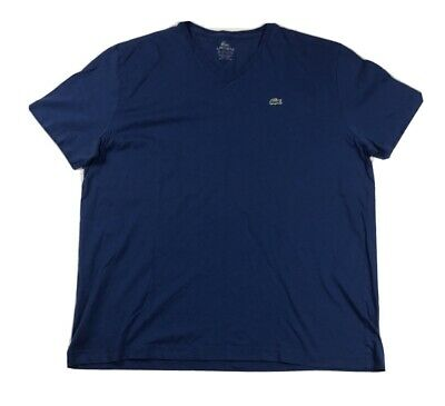 Lacoste Mens Size 8 Blue V Neck Short Sleeve Alligator Logo