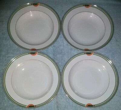 Mikasa DECO RAINBOW RIM SOUP PASTA BOWL LAF01 - Fine China - set of 4 Rainbow Rim