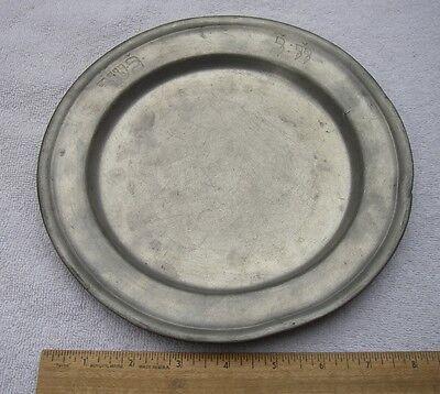 Unusual ANTIQUE PEWTER PLATE w/ HEBREW INSCRIPTIONS-8 3/4 inch-19th C-Origin?