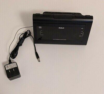 RCA Clock Radio RC142-D Dual Alarm Wake USB Charging Aux In Black *Tested*
