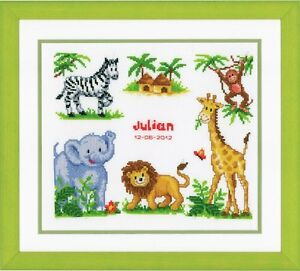 Vervaco - Counted Cross Stitch Kit - Birth Record - Zoo Animals - 200270.357