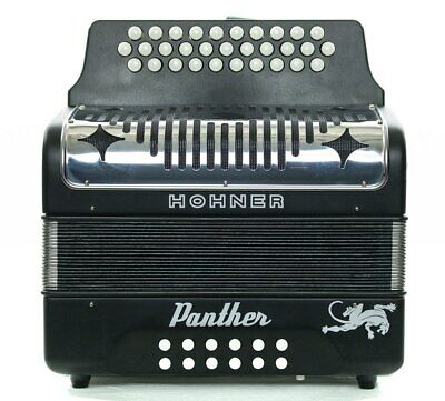 Pre-Owned Panther FBbEb Black 3-Row Diatonic Accordion 6242
