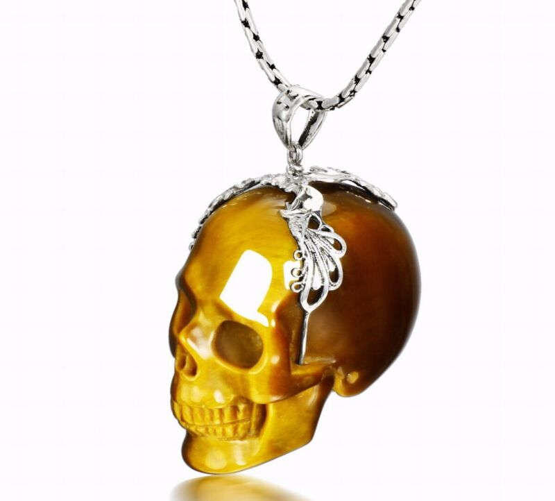 GOLD TIGER EYE Carved Crystal Skull Pendant, Jewelry #S701