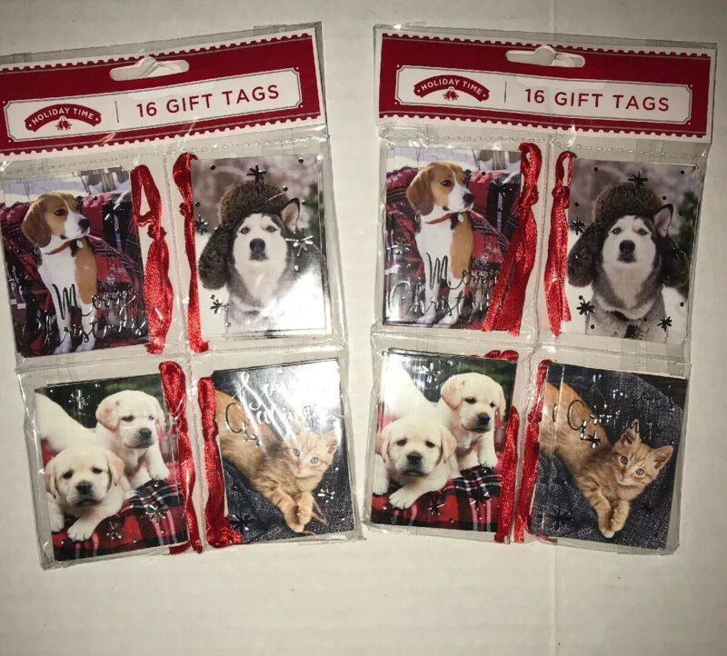 2 Packages Holiday Time Dog and Cat Christmas Hanging Gift Tags Pets