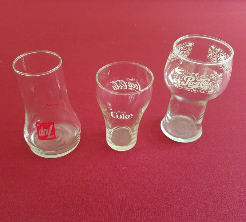 Vintage PEPSI COLA, COCA COLA and 7-UP Glasses