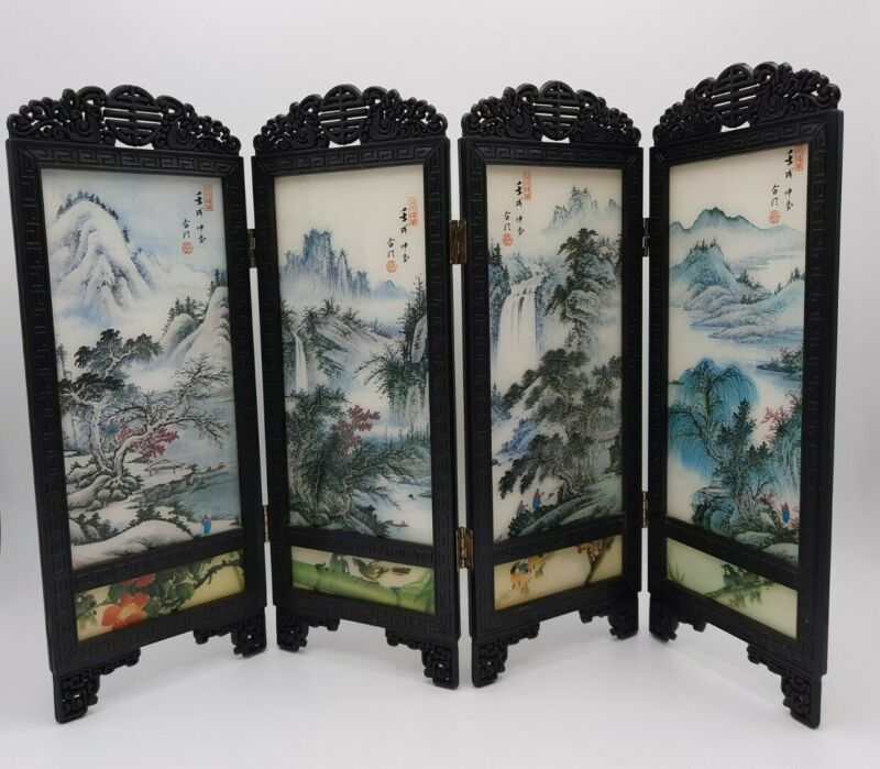 Vintage Asian Mountain Themed Miniature Plastic 4 Panel Folding Screen Taiwan