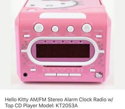 Hello Kitty  Stereo CD Player AM/FM Dual Alarm Clock Radio Model KT2053A Pink