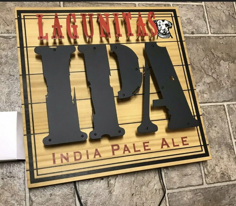 """Lagunitas IPA Lighted Sign 16.25"""" X 16.25"""" India Pale Ale Wood And Metal New"""