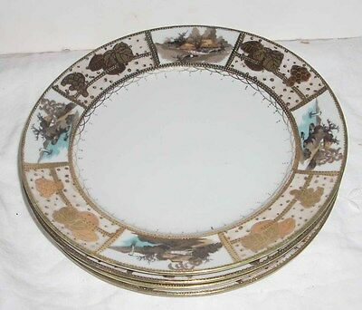 "4 Antique / Vintage Japanese M Furuya Co Handpainted Gilt 8.5"" Dinner Plates"