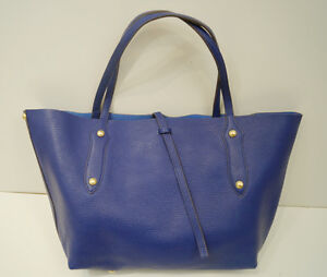 ... -Large-Royal-Blue-Gold-Stud-Double-Strap-Tote-Shopper-Shoulder-Bag