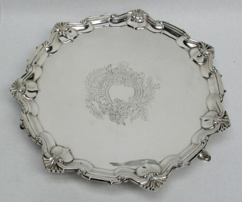 "1904 LONDON STERLING SILVER SCALLOP 11"" ROUND FOOTED TRAY"