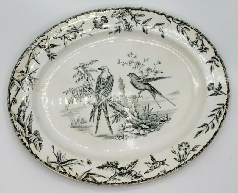 "1877 Ridgway Sparks & Ridgway Black Transferware Platter ""INDUS"" Birds 11.5"""
