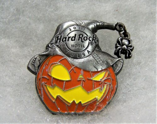 HARD ROCK HOTEL TULSA HALLOWEEN JACK O LANTERN WITH SPIDER DANGLER PIN # 97877