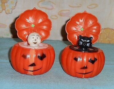 vintage HALLOWEEN POP-UP TOYS pumpkin with ghost and cat inside