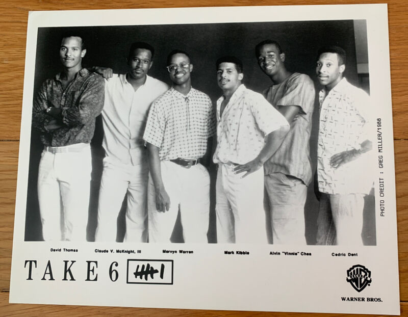 "Take 6 (Gospel Sextet) Warner Bros. Promo Photo - 10""x8"" B&W"