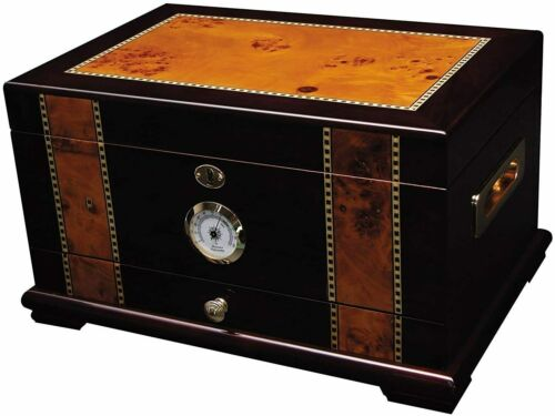 Solana Desktop Cigar Humidor, Rosewood With Maple-Burled Wood Inlay, Spanish Ced
