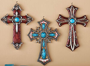 Western Decor Cross Wall Decor 3 PC Set Turquoise Crystals Cross Plaques 6