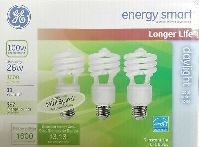 3 pack GE 26W 100 watt replacement CFL Spiral Daylight 6500K light bulbs  ()