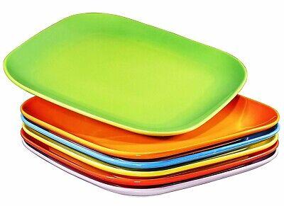 Bruntmor Ceramic Square Dinner Plates Set of 6 Restaurant Dish Multi Color 10 In Ceramic Dinner Plates Set