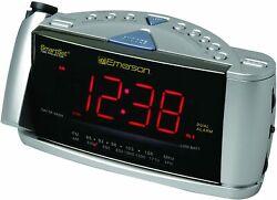 Emerson CKS3528: SmartSet Projection Clock Radio w/ Dual Alarms - Silver