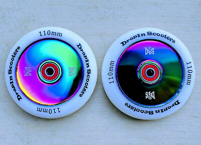 DIS 110mm Hollow Slicks - 2 Scooter wheels with ABEC-11 Bearings (Neo Chrome) for sale  Carlsbad