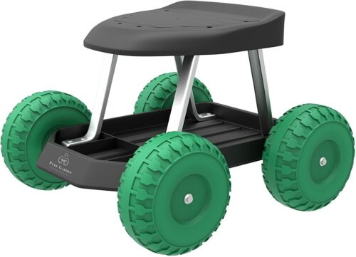 Pure Garden 82-VY021 Cart Rolling Stool with Wheels Seat, and Tool Tra, 17.5x19