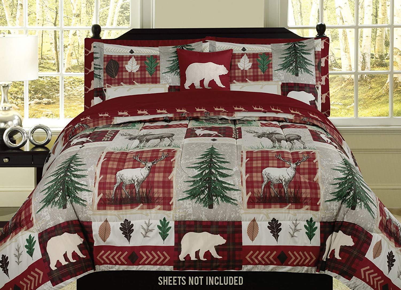 King, Full/Queen, or Twin Bear Lodge Deer Elk Rustic Cabin Comforter Bedding Set Bedding