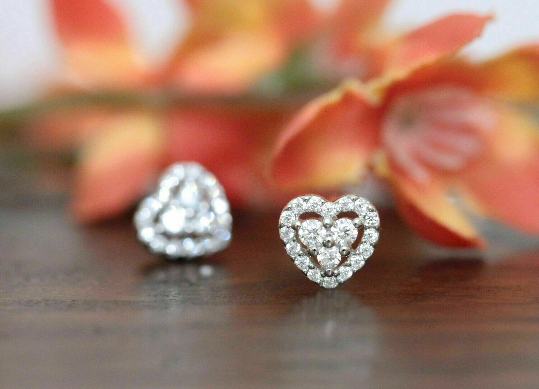 1.00Ct Heart Shape Round Cut Diamond Womens Stud Earrings 14k White Gold Finish