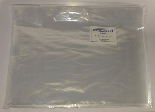 "100 Uline 9 X 12 Clear Poly T Shirt Apparel Plastic Bags 2"" Fold Over Flap Bags"