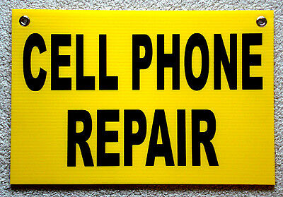 Cell Phone Repair Coroplast Sign With Grommets 12x18 Black On Yellow