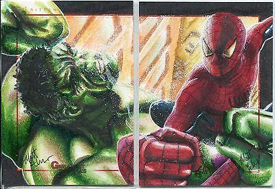 Marvel Greatest Battles Panel Sketch Card By Matt Glebe