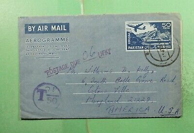 DR WHO 1967? PAKISTAN KOHAT? AEROGRAMME TO USA POSTAGE DUE  g16768