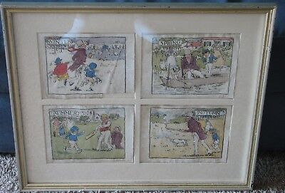 The Four Seasons-1905-British Watercolors-Signed T Butler Storey