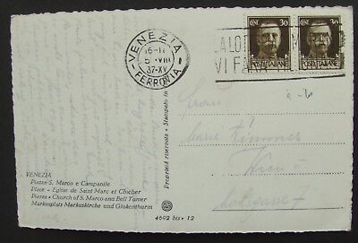 Venice postcard posted 1937 Italy to Austria