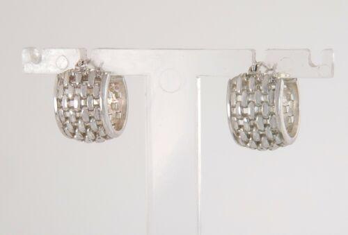 Vintage Estate 925 Sterling Silver Cut Out Hoop Earrings 8.3g