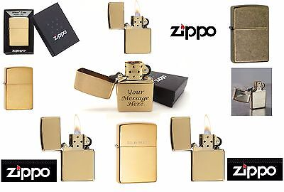 GENUINE ZIPPO LIGHTER ENGRAVING PERSONALISED ENGRAVED GIFT BOXED XMAS GOLD NEW
