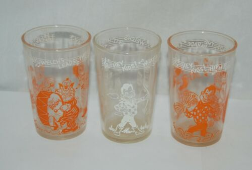 3 Vintage 1950s Welch's Children Howdy Doody Jelly Juice Drinking Glasses