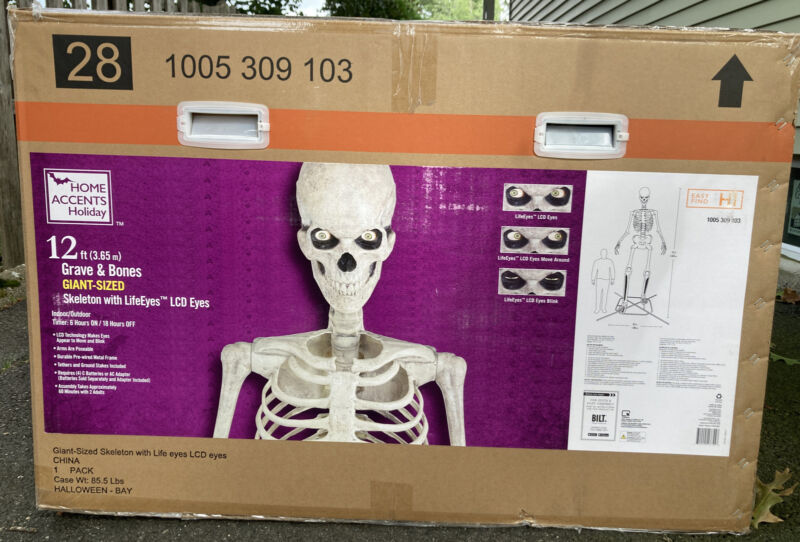 12 FT Foot Giant Skeleton W/ Animated LCD Eyes Halloween Prop Home Depot NJ RARE