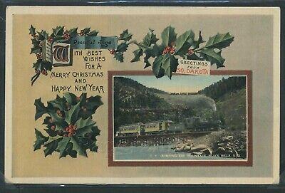 Christmas Hills - SD Black Hills LITHO 1913 CHRISTMAS GREETINGS BLACK HILLS CENTRAL RAILROAD 410