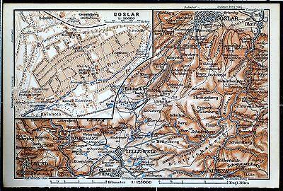 GOSLAR + Umgebung, alter farbiger Stadtplan, gedruckt ca. 1910