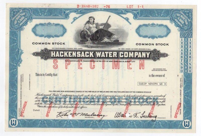 SPECIMEN - Hackensack Water Company Stock Certificate