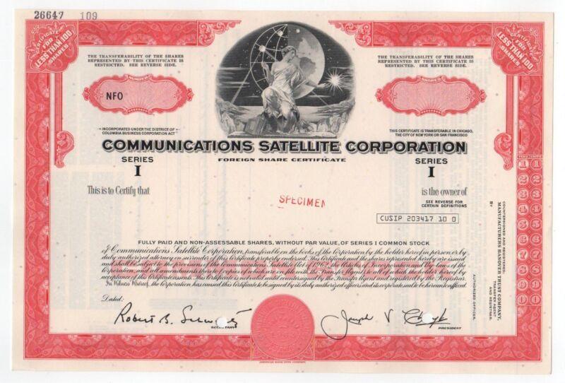 SPECIMEN - Communications Satellite Corporation Stock Certificate